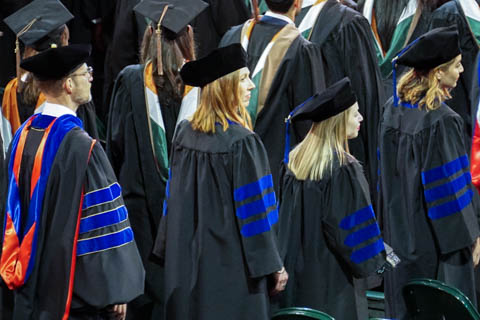 Faculty and doctoral students at graduation